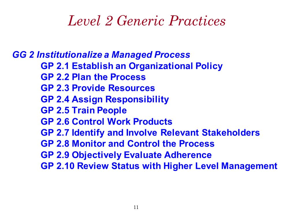 Level 2 Generic Practices