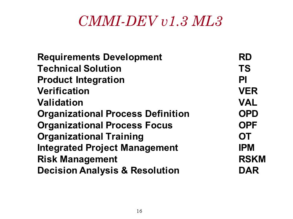 CMMI-DEV v1.3 ML3 Requirements Development RD Technical Solution TS