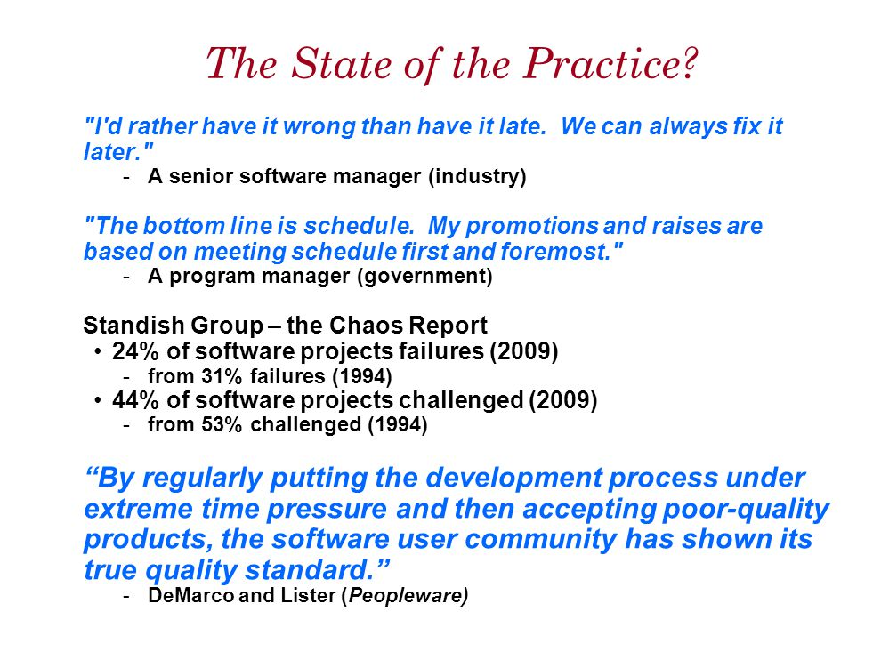 The State of the Practice