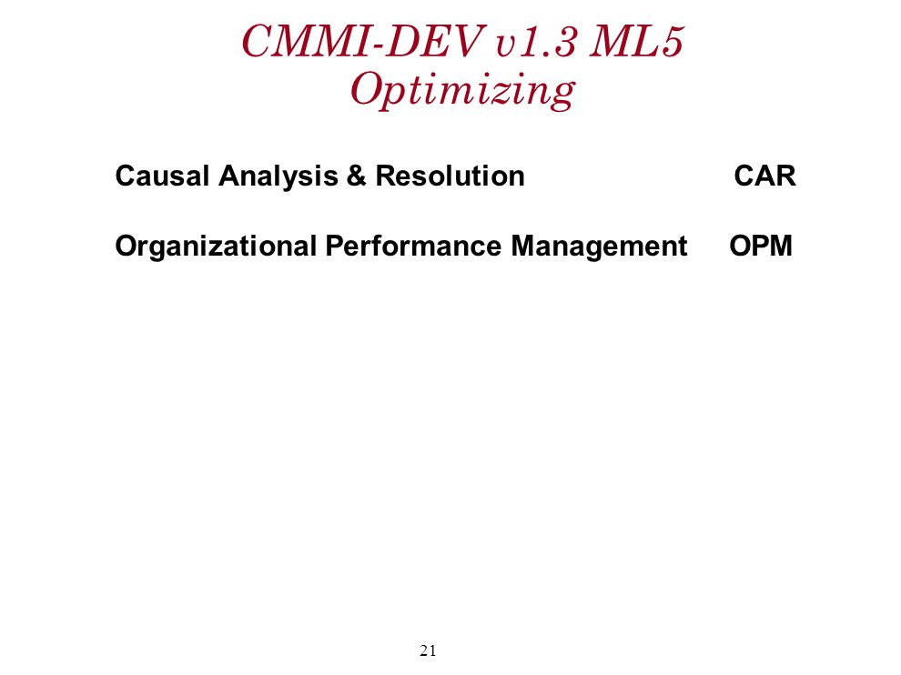 CMMI-DEV v1.3 ML5 Optimizing