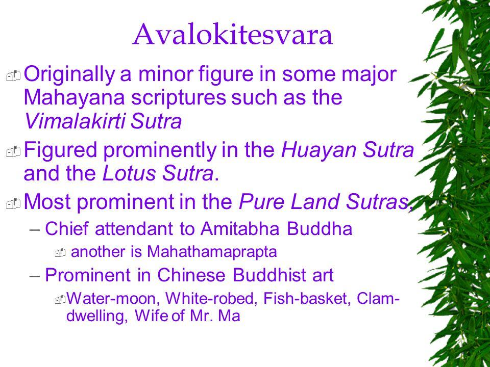 Avalokitesvara Originally a minor figure in some major Mahayana scriptures such as the Vimalakirti Sutra.