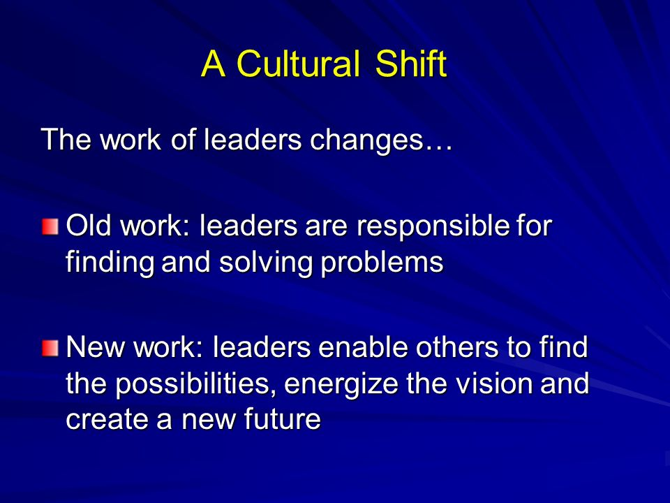 A Cultural Shift The work of leaders changes…