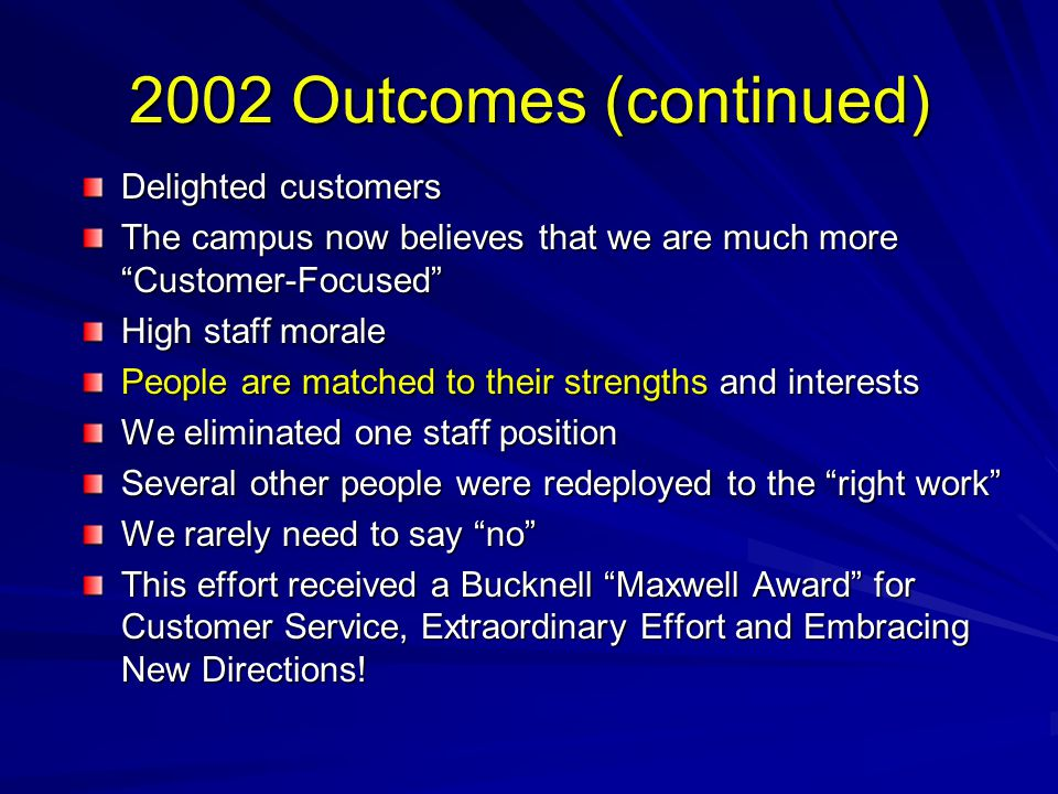 2002 Outcomes (continued) Delighted customers