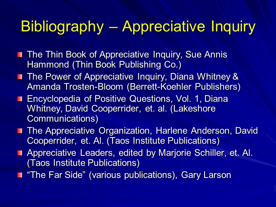 Bibliography – Appreciative Inquiry