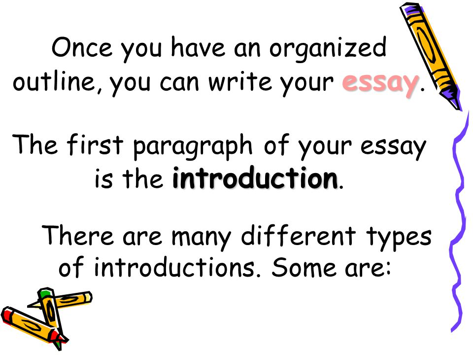 Once you have an organized outline, you can write your essay
