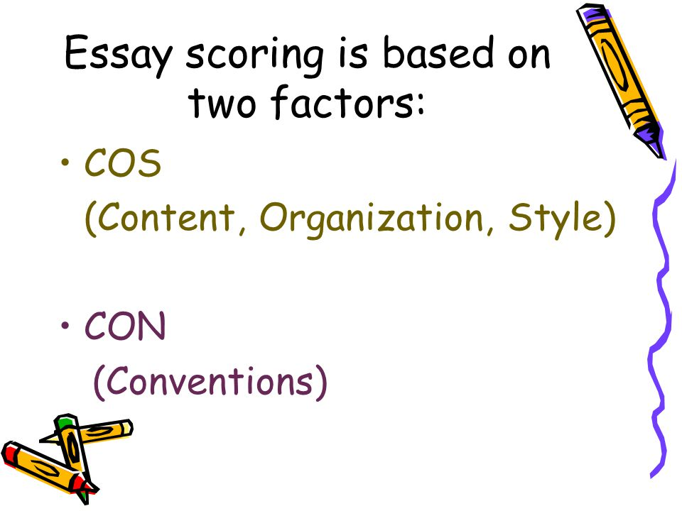 Essay scoring is based on two factors: