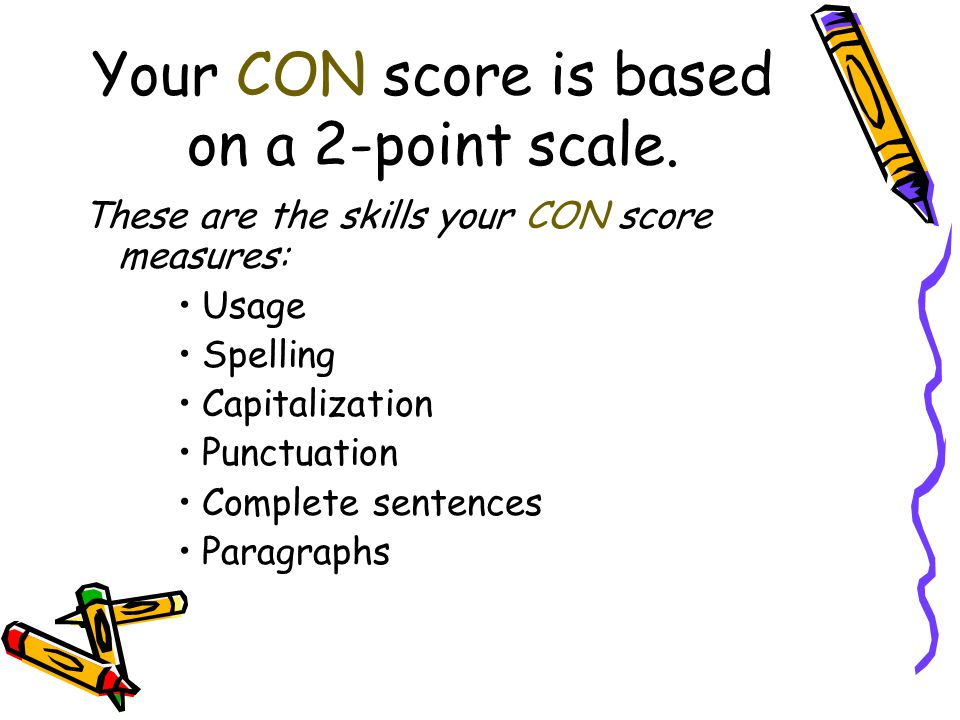 Your CON score is based on a 2-point scale.