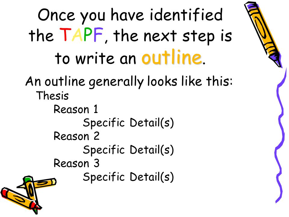 Once you have identified the TAPF, the next step is to write an outline.
