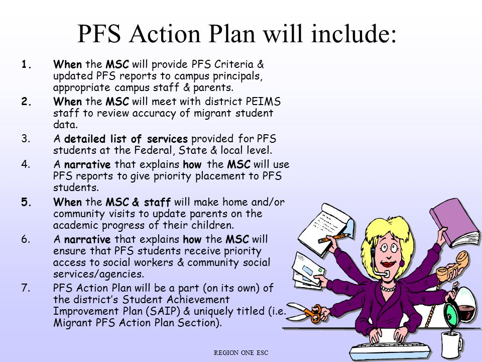 PFS Action Plan will include: