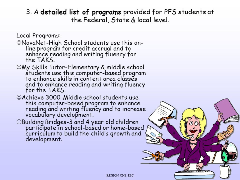 3. A detailed list of programs provided for PFS students at the Federal, State & local level.