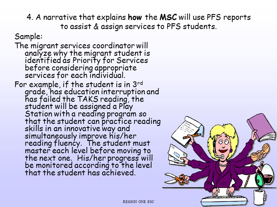 4. A narrative that explains how the MSC will use PFS reports to assist & assign services to PFS students.