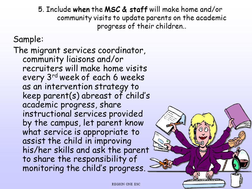 5. Include when the MSC & staff will make home and/or community visits to update parents on the academic progress of their children..