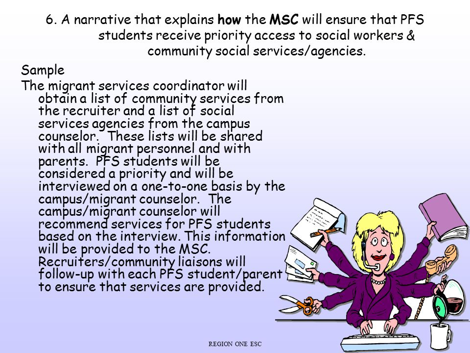 6. A narrative that explains how the MSC will ensure that PFS students receive priority access to social workers & community social services/agencies.