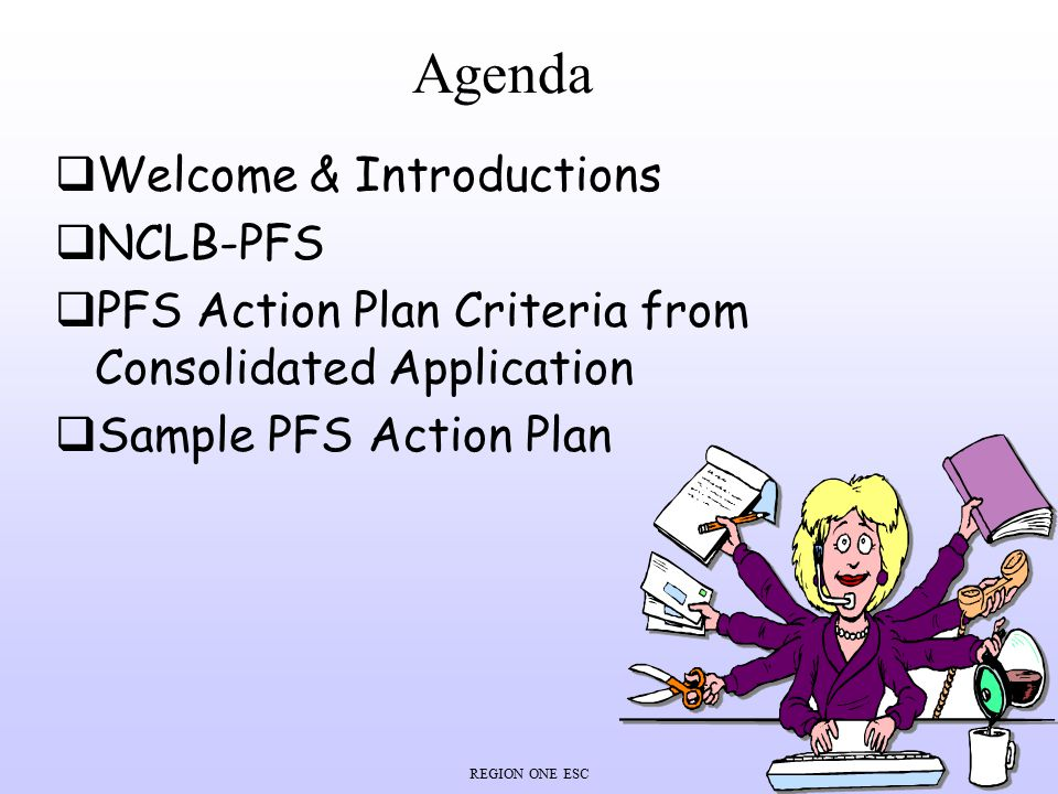 Agenda Welcome & Introductions NCLB-PFS