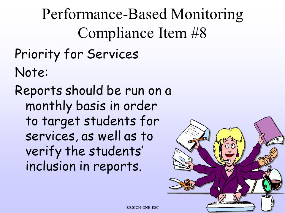 Performance-Based Monitoring Compliance Item #8