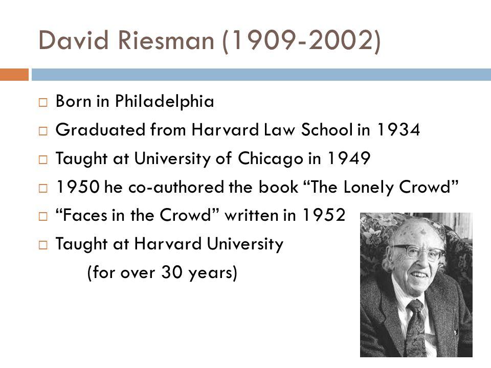 David Riesman (1909-2002) Born in Philadelphia