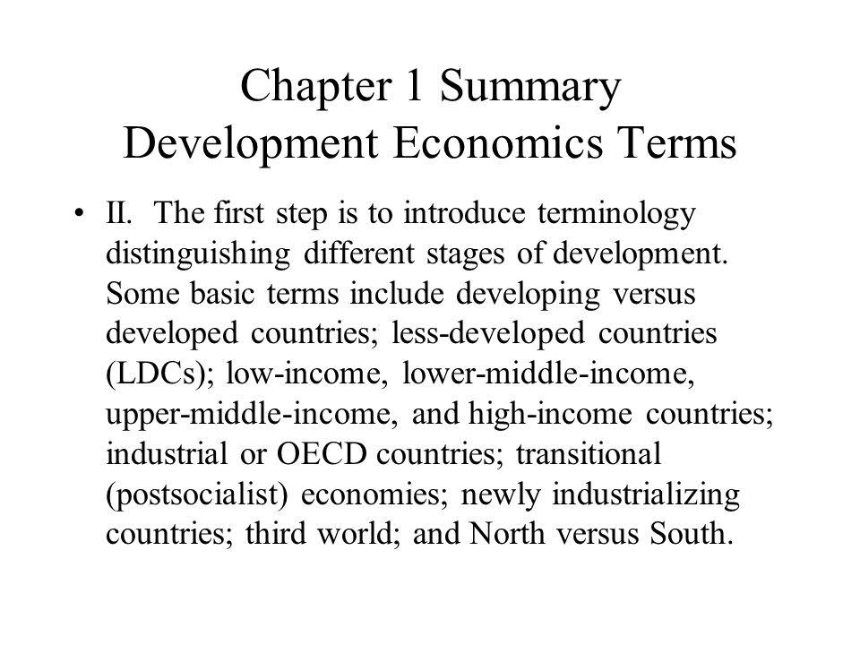 Chapter 1 Summary Development Economics Terms