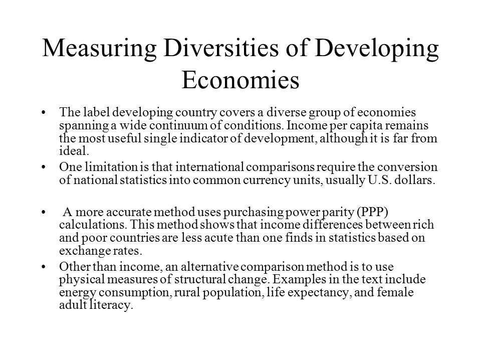 Measuring Diversities of Developing Economies