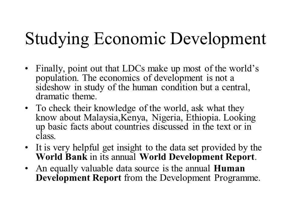 Studying Economic Development