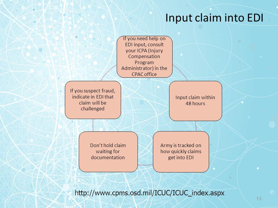 Input claim into EDI http://www.cpms.osd.mil/ICUC/ICUC_index.aspx