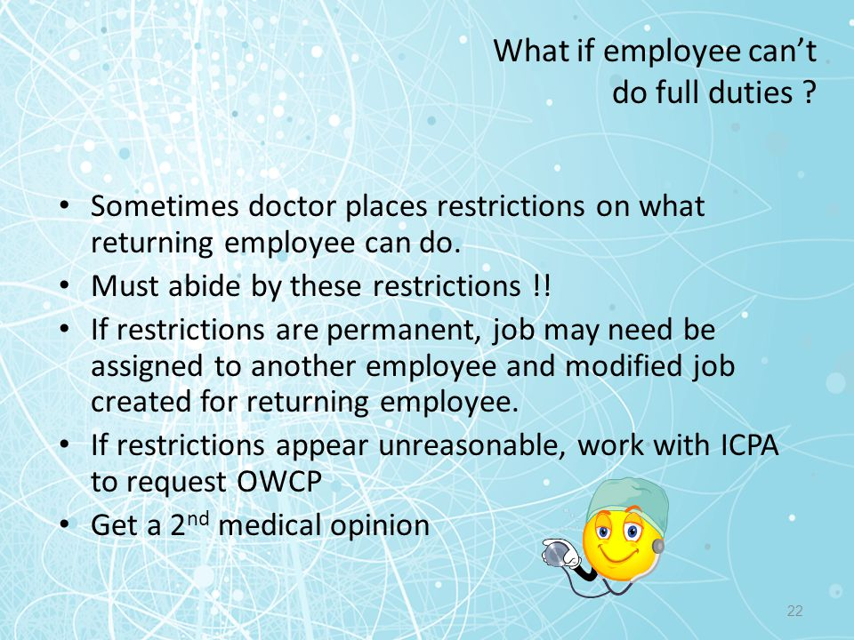 What if employee can't do full duties