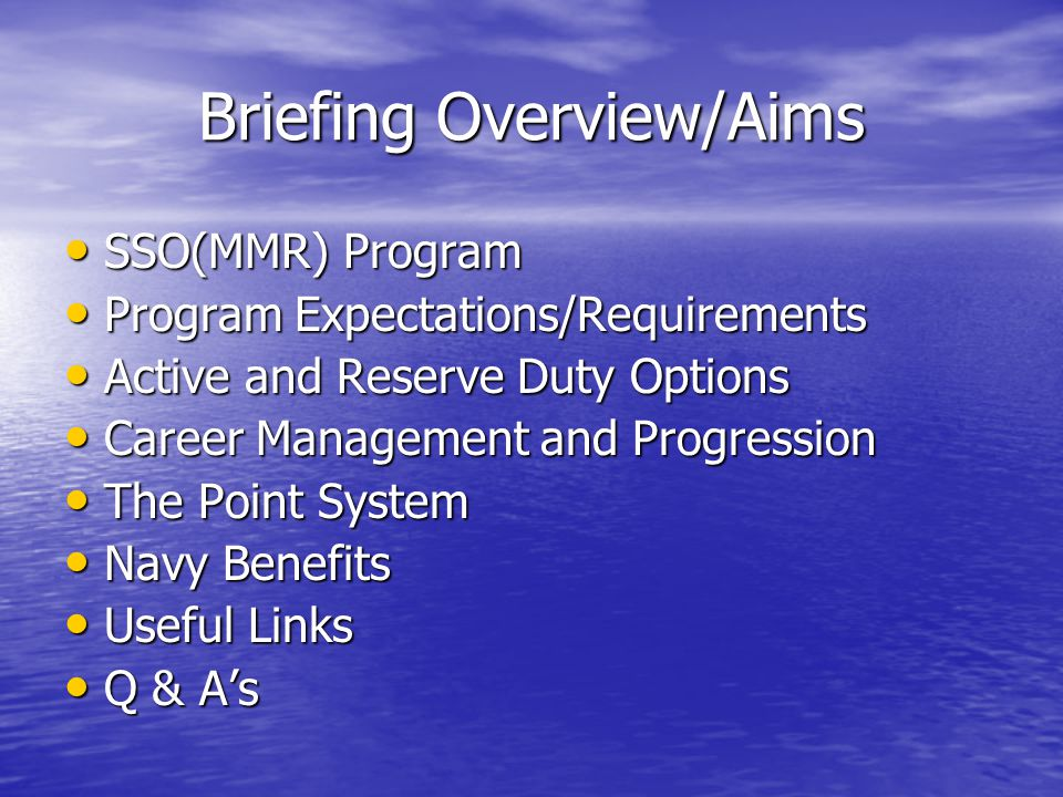 Briefing Overview/Aims