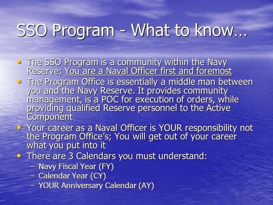 SSO Program - What to know…