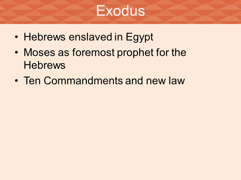 Exodus Hebrews enslaved in Egypt