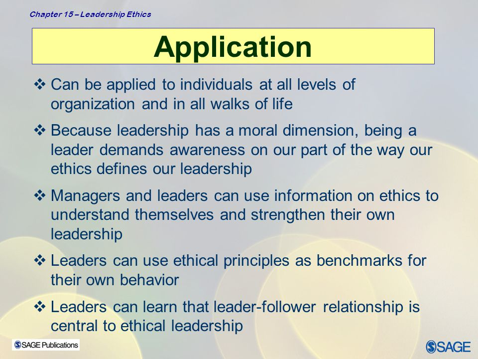 Application Can be applied to individuals at all levels of organization and in all walks of life.