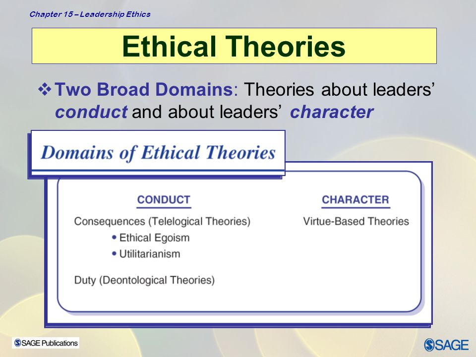 Ethical Theories Two Broad Domains: Theories about leaders' conduct and about leaders' character