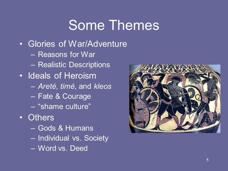 Some Themes Glories of War/Adventure Ideals of Heroism Others