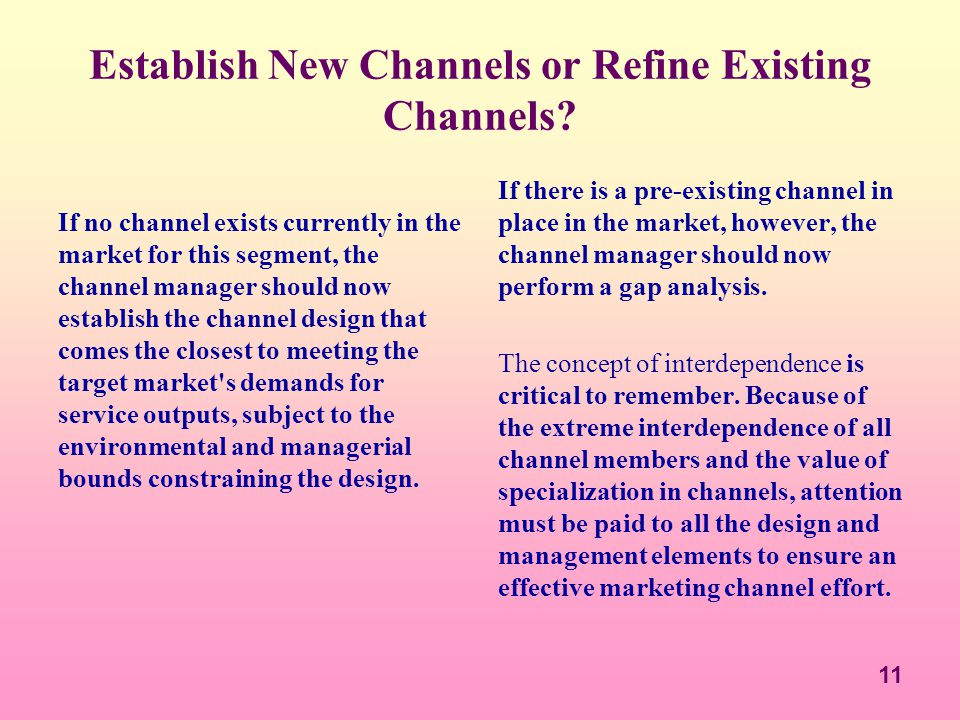 Establish New Channels or Refine Existing Channels