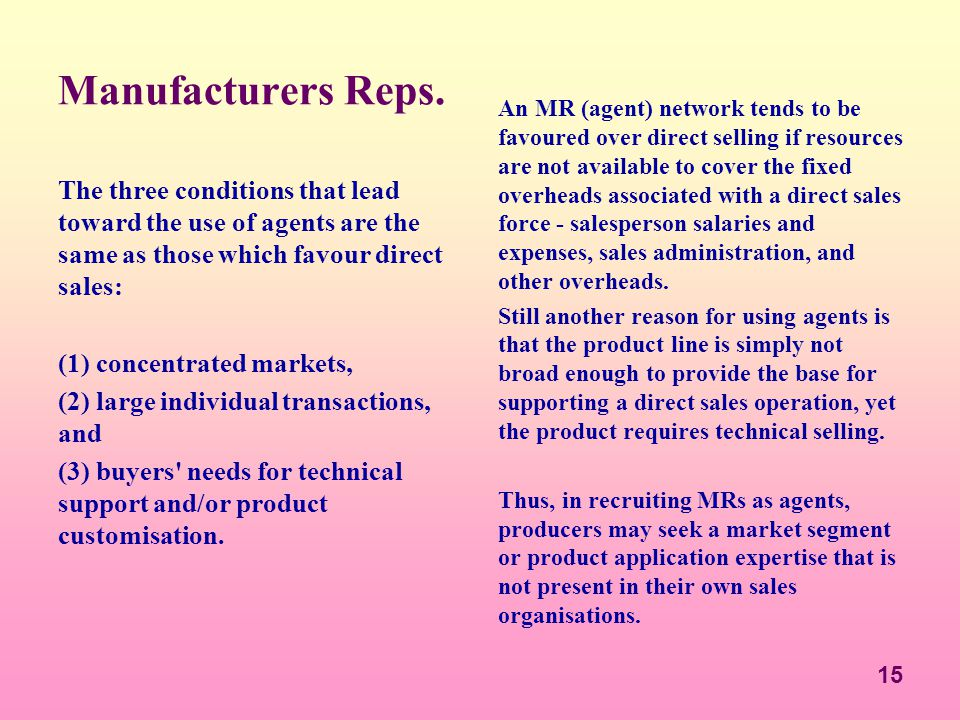 Manufacturers Reps.