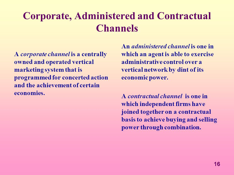 Corporate, Administered and Contractual Channels