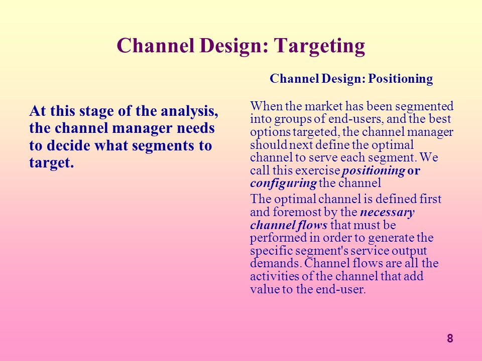 Channel Design: Targeting
