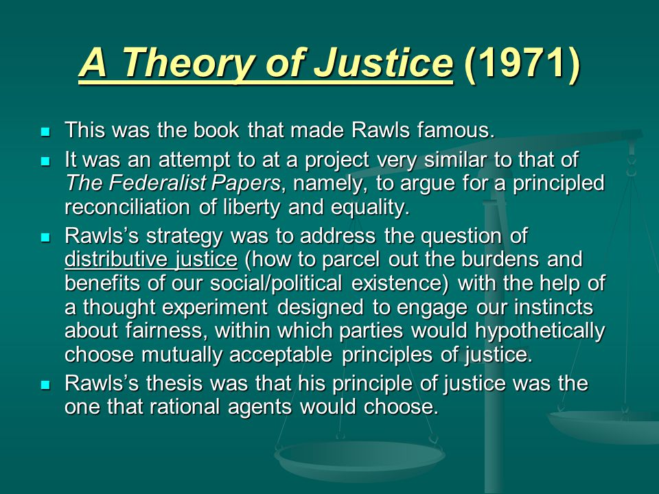 John Rawls Justice and Fairness