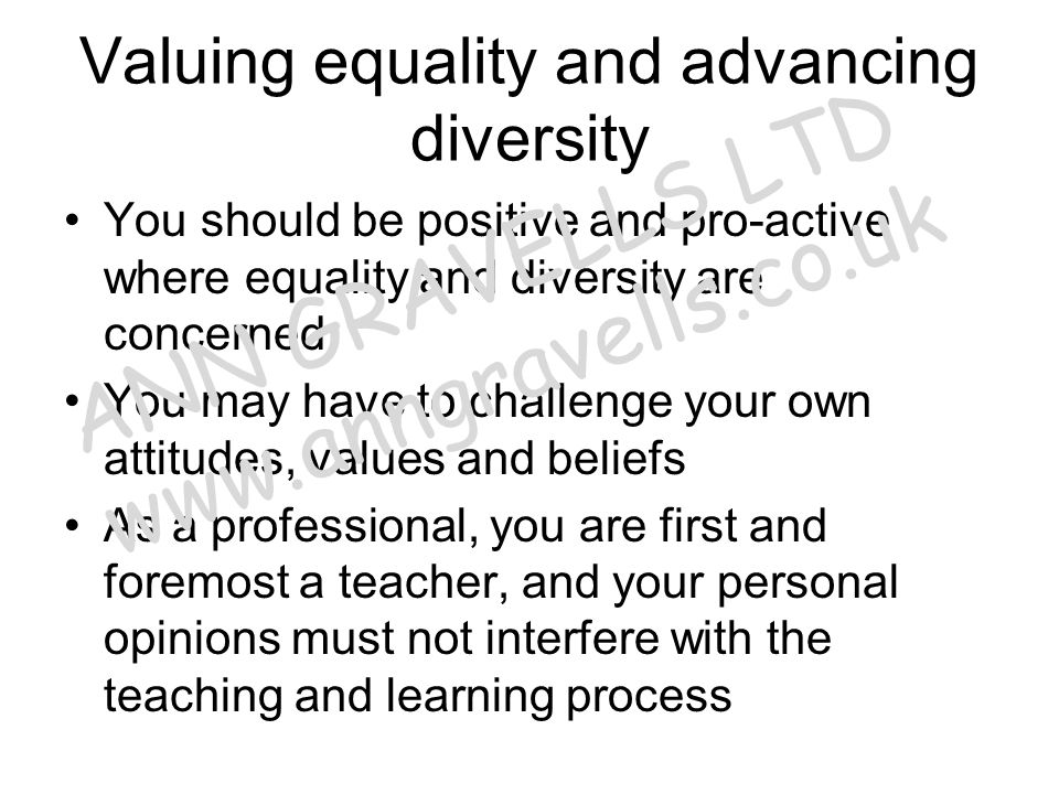 Valuing equality and advancing diversity