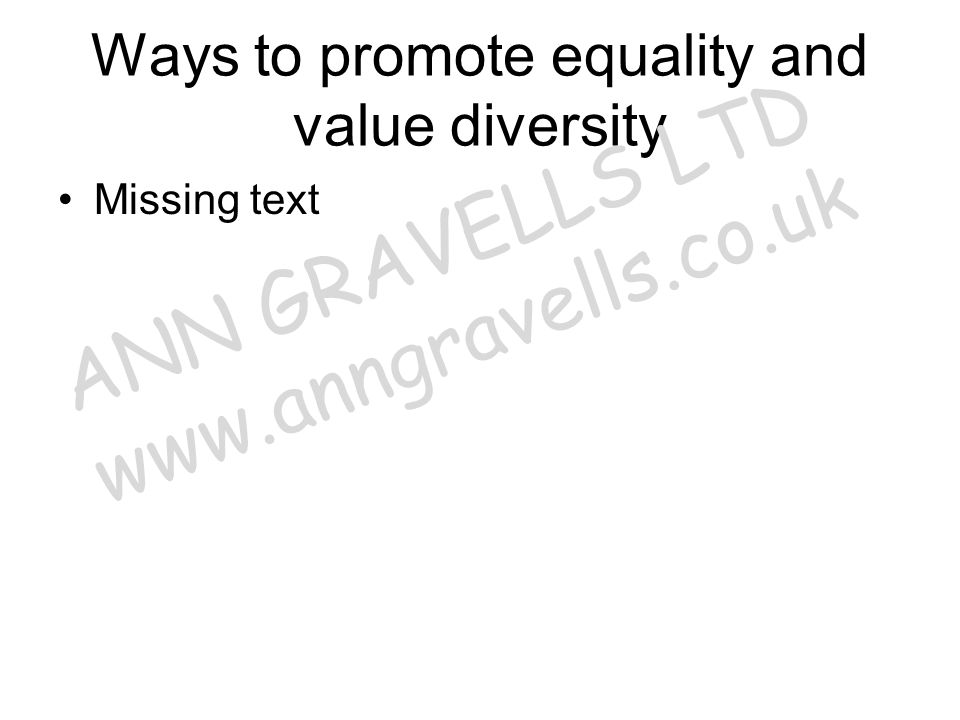 Ways to promote equality and value diversity