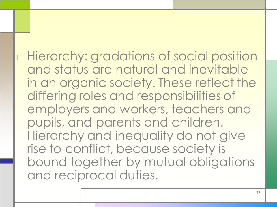 Hierarchy: gradations of social position and status are natural and inevitable in an organic society.