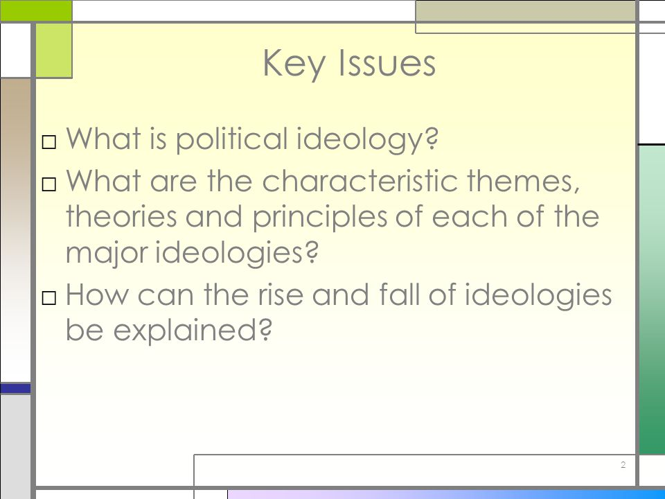 Key Issues What is political ideology