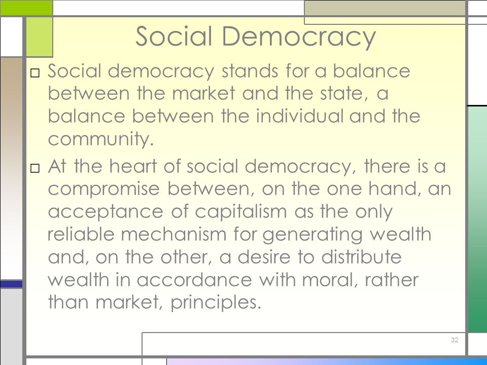 Social Democracy Social democracy stands for a balance between the market and the state, a balance between the individual and the community.