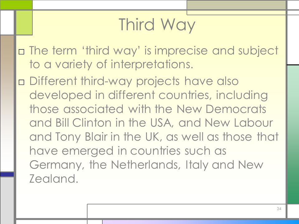 Third Way The term 'third way' is imprecise and subject to a variety of interpretations.