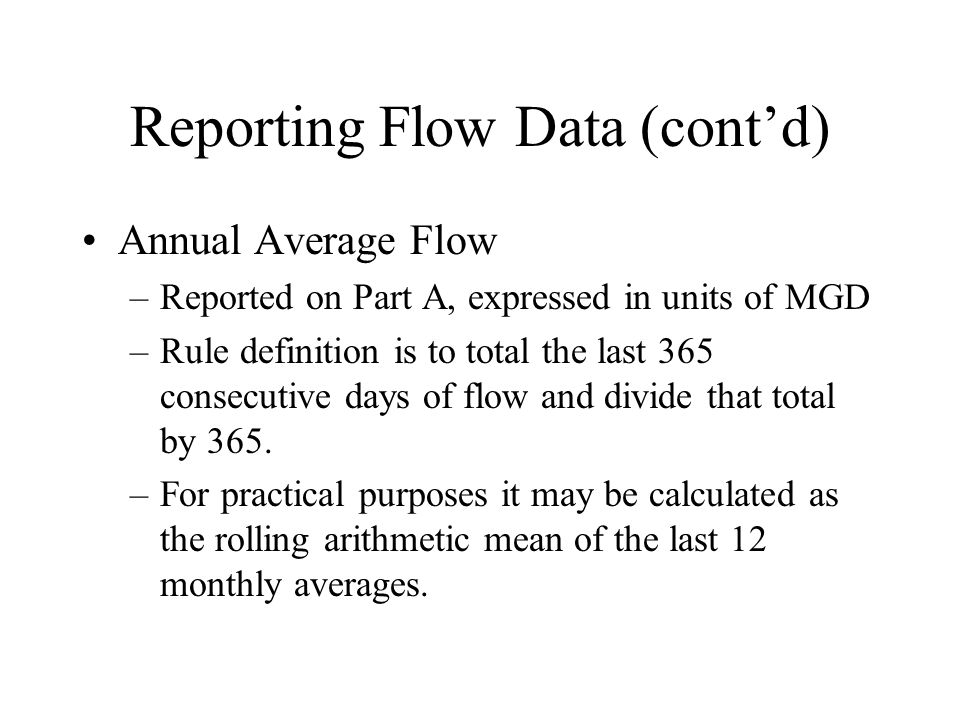 Reporting Flow Data (cont'd)