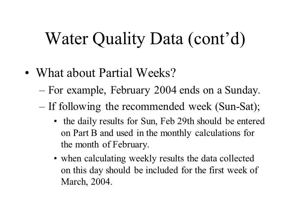 Water Quality Data (cont'd)