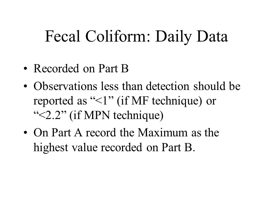 Fecal Coliform: Daily Data