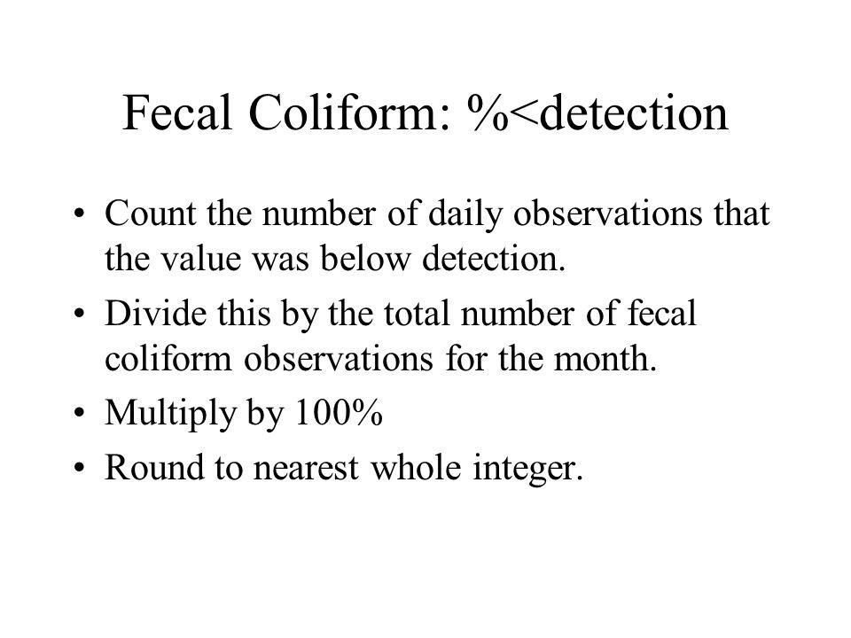 Fecal Coliform: %<detection