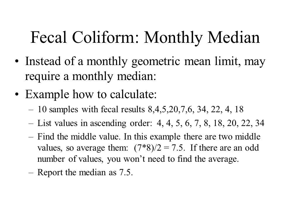 Fecal Coliform: Monthly Median