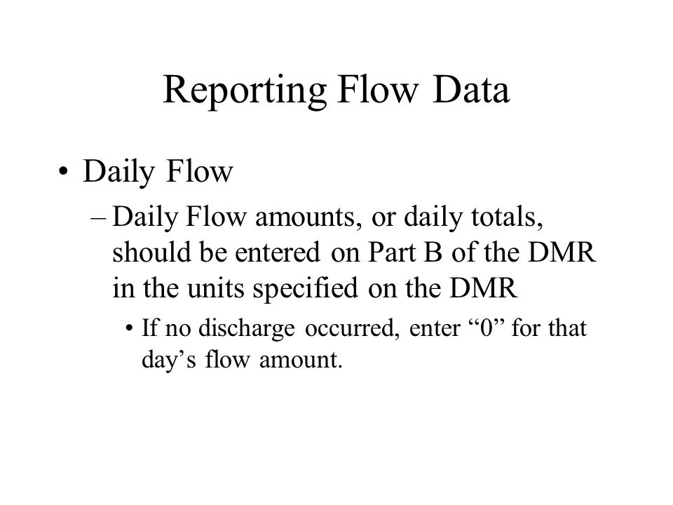 Reporting Flow Data Daily Flow