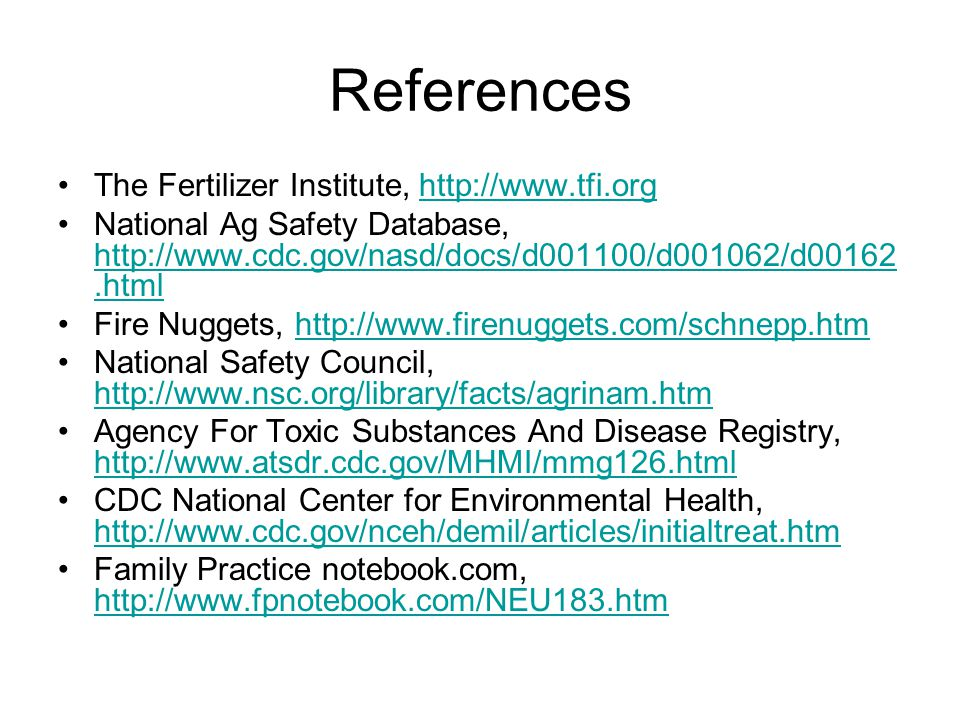 References The Fertilizer Institute, http://www.tfi.org