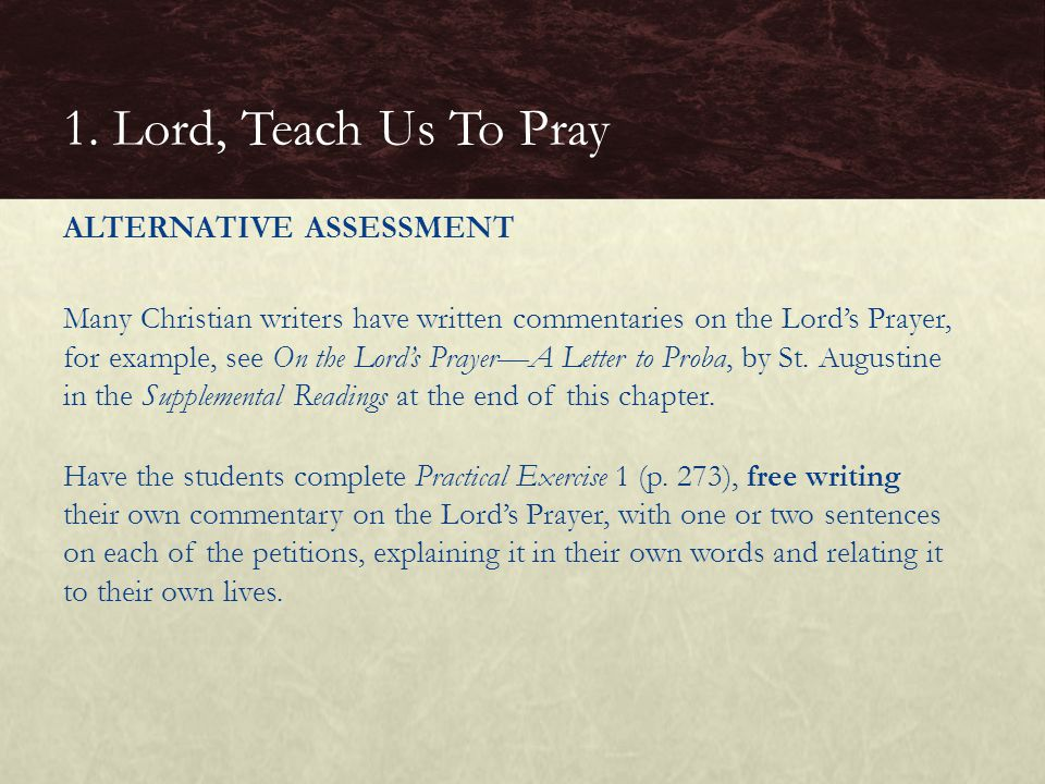 1. Lord, Teach Us To Pray